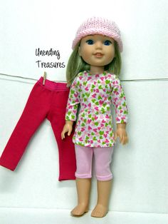14 inch doll clothes AG doll clothes hearts a plenty tunic top pink capri leggings and pink hat made to fit like Wellie Wishers doll clothes