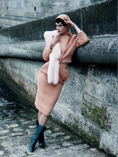 Victor Demarchelier for Magazine Antidote - no words.                     #thisisluxe #pink #suit #skirt #jacket #instaluxe #fashion #like #follow #tag #hood #magazineantidote #victordemarchelier #photographer #photography #structure #boots #wall #stone #brick #instastyle