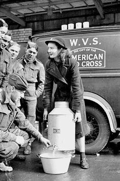 A Blitz Canteen: Women's Voluntary Service run a mobile canteen in note that this is before the US entry into the war, but the van has been donated by the American Red Cross. Vintage London, Old London, British History, Women In History, London History, American History, Royal Engineers, Pin Up, The Blitz