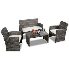 Goplus 4 PC Rattan Patio Furniture Set Garden Lawn Pool