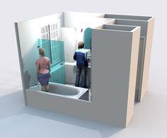 Aménagement d'une salle de bain et de toilettes - Perspective réalisée avec le logiciel Sweet Home 3D de l'idée n°2 Magazine Rack, Perspective, Sweet Home, Architecture, Storage, Furniture, Home Decor, Software, Toilets