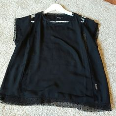 Madewell see-through polka dot black top (M) Really light and breezy black top from madewell years back. Worn once and always hoped I'd wear it again but couldn't make it work! Fits a little boxy. Madewell Tops Tees - Short Sleeve
