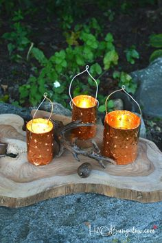 DIY copper tin can candle holders are a simple upcycle project for outdoor lighting. Make your own candle holders from cans and a drill.