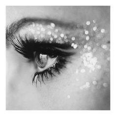 Glitter makeup.