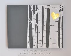 Birch Tree Wall Art, easy DIY, paint over an old canvas, heart on tree, monogrammed birch tree, gold birch tree, tutorial for easy paint, hand painted heart