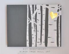 Birch Tree Wall Art, easy DIY, paint over an old canvas, heart on tree, monogrammed birch tree, gold birch tree, tutorial for easy paint, hand painted heart