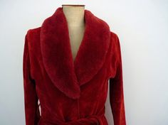 SALE Vintage Red Plush Coat With Tie Waist and by FoxandThomas, $35.00