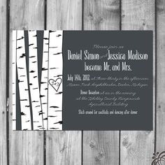 Birch Tree Wedding Invitations | Birch Tree Wedding Invitation Set by ChristinaElizabethD on Etsy