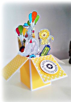 3d Kids Box Card. Kids Birthday Card. Ready to by CroppinSpree