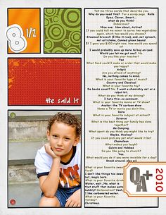 Cute idea to interview your kids every 6 months or so! I do interview my kids, but I like how this is done! Scrapbook Pages, Kids Scrapbook, Scrapbooking, Scrapbook Layouts, Family Traditions, Project Life, Projects For Kids, My Children, Family History