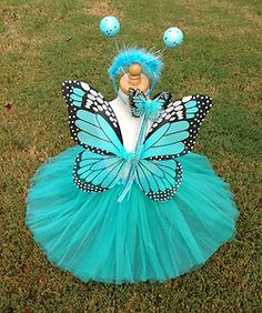 Monarch Butterfly Costume Wings Wand Tutu Headband Halloween Girl 2 6T Turquoise | eBay