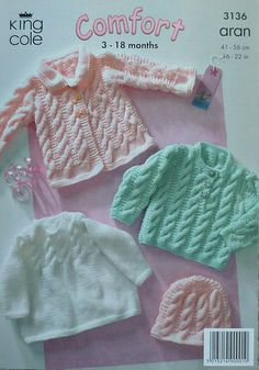 Baby stricken Muster K3136 Babys Fell Jumper Hat Kabel im