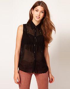 Enlarge Mags & Pye Sleeveless Fringe Studded Shirt