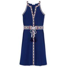 Tory Burch Savannah Dress ($450) ❤ liked on Polyvore featuring dresses, navy sea, a line dress, navy dress, blue vintage dress, navy a line dress and blue a line dress