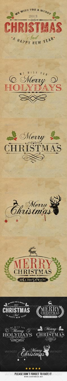 Vintage Christmas Labels  #GraphicRiver         5 High quality vintage labels / logo badges suitable for any kind of business. Each PSD label file of 1600×1600 is resizable very easy to customize.   All fonts used can be downloaded for free. Fonts link are in the help file.