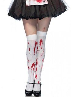 "Women's ""Bloody Zombie"" Thigh Highs by Leg Avenue (White) - www.inkedshop.com"
