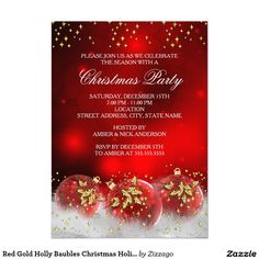 Red Gold Holly Baubles Christmas Holiday Party 4.5x6.25 Paper Invitation Card