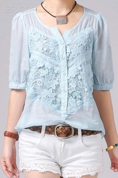 2014 New Summer Casual Lace Cotton Blouses Blouses New Outfits, Casual Outfits, Fashion Outfits, Womens Fashion, Shirt Refashion, Blouse And Skirt, Cotton Blouses, Plus Size Blouses, Blouse Styles