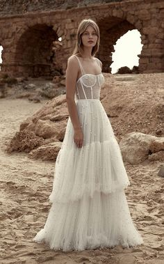 boho wedding gown, Dana Harel 2019 Wedding Dresses - Morning Star Bridal Collection Ready to feast your eyes on some amazing, ultra-swoonworthy wedding dresses? Yep, lets go – today we're putting the spotlight on Dana Harel. Wedding Dress Empire, Boho Wedding Gown, Tulle Wedding, Dream Wedding Dresses, Bridal Dresses, Maxi Dresses, Wedding Dress Corset, Fashion Wedding Dress, Beaded Wedding Dresses