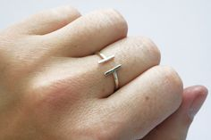 Open Silver Ring Simple Ring Line Ring Thin by StefanieSheehan, $46.00