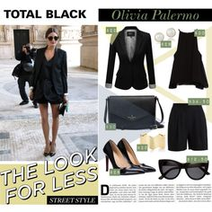 Total black: Olivia Palermo by katemake on Polyvore featuring mode, Zara, J.TOMSON, Pieces, Fevrie, Carolee, H&M and LookForLess