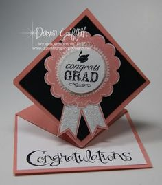 Graduation card-This fold isn't as hard as you think! There is a you tube tutorial out there to talk you through it if needed.