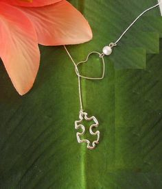 Silver Puzzle Piece & Heart Necklace , Autism Awareness, handmade jewelry, holiday, Christmas gifts