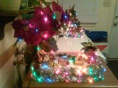 Lighted Christmas centerpiece. with poinsettia and jar with potpourri the lights  heat up the potpourri and smells nice  in the home .after  a little time on solid base $49.00 shipping and handling not included
