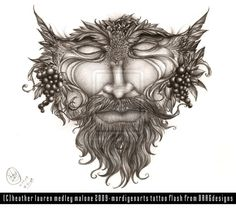 green man tattoo concept; nice start, minus the grapes  by mordigen-d2grnbb
