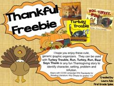 Thanksgiving Story Organizers for stories - Turkey Trouble or Run, Turkey, Run