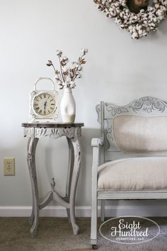 Settee and Side Table -  Eight Hundred Furniture painted furniture, repurposed furniture, furniture makeovers, diy furniture, furniture restoration, antiques, home decor and more  #homedecor #paintedfurniture #eighthundredfurniture