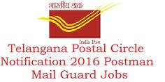 Highlights of Contents -Telangana Postal Circle Notification 2017-2016Telangana Postal Circle Notification 2016 Eligibility Criteria Telangana Postal Circle Notification 2016 Post Man, Mail Guard Vacancies. Office of the chief postmaster general Telangana Circle have announced an recruitment for the selection of the candidates who are eligible to the vacancies of Postman and Mail Guard in the various postal divisions …