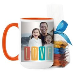 Colorful Love Mug, Orange, with Ghirardelli Minis, 15 oz, White