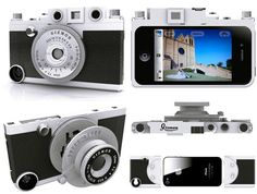 """This iPhone case gives the look of a vintage camera with two """"lenses"""" that attach to the front and a shutter button that actually works. Complete with a detachable tripod and holes to attach a strap so you can really make it look like a camera."""