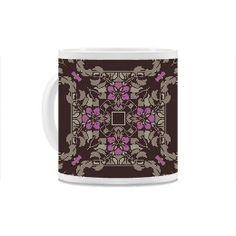 Dark brown and violet art nouveau floral square pattern Mug