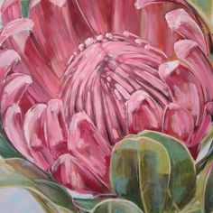 Floral Drawing, Art Floral, Floral Motif, Protea Art, Protea Flower, Pastel Paintings, Flower Paintings, King Protea, Still Life Oil Painting
