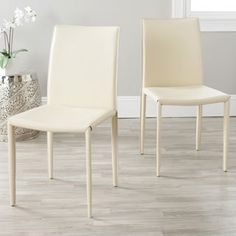 Shop for Safavieh Mid-Century Dining Jazzy Bonded Leather Cream Dining Chairs (Set of 2). Get free shipping at Overstock.com - Your Online Furniture Outlet Store! Get 5% in rewards with Club O! - 14159046