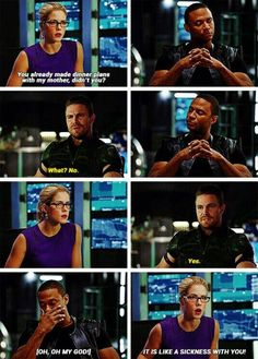 I love how Diggle is just Looking from Felicity to Oliver  then back to Felicity to Oliver.