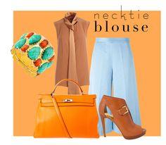 """#necktieblouse"" by alessiaiuliani on Polyvore featuring moda, MSGM, ADAM, MICHAEL Michael Kors, Hermès e Amrita Singh"