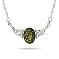 Wear a stunning genuine green baltic amber stone, that is placed in a celtic knot pendant. The necklace is .925 sterling silver, featuring the green color of the baltic amber stone.