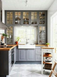 Do you want to have an IKEA kitchen design for your home? Every kitchen should have a cupboard for food storage or cooking utensils. So also with IKEA kitchen design. Here are 70 IKEA Kitchen Design Ideas in our opinion. Hopefully inspired and enjoy! Butcher Block Countertops Kitchen, Farmhouse Kitchen Cabinets, Kitchen Cabinet Design, Kitchen Redo, New Kitchen, Kitchen White, Kitchen Small, Kitchen Interior, Farmhouse Sinks