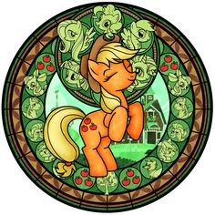 Stained Glass: Applejack -recolor- by Akili-Amethyst.deviantart.com on @deviantART