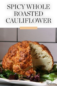 Spicy Whole Roasted Cauliflower via @PureWow sub out the greek yogurt for non-diary yogurt or silken tofu?