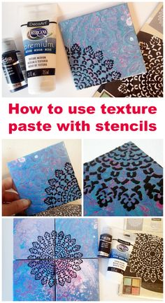 How to Create Designs on Poured Tiles with Texture Paste and Stencils Using texture paste to add a stencilled design on to acrylic pour painted ceramic tiles. Tile Crafts, Diy Resin Crafts, Diy Craft Projects, Diy Tiles, Pallet Projects, Craft Tutorials, Craft Ideas, Acrylic Pouring Techniques, Acrylic Pouring Art