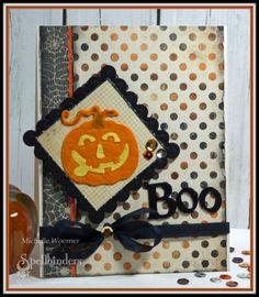 Spellblogger Michelle Woerner's multi-texture #Halloween #Spellbinders #JackOLanterns #pumpkins #diy #card