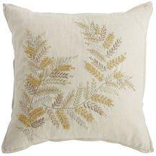 Natural Beaded Fern Pillow
