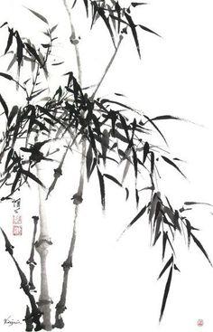 Zen Painting, Japanese Painting, Chinese Painting, Chinese Artwork, Bamboo Art, Chinese Brush, Nature Drawing, Korean Art, Japan Art
