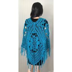 Hippie boho clothing, crochet boho wrap, crochet cape, crochet woman... ($100) ❤ liked on Polyvore featuring outerwear, crochet cape, poncho cape, wrap poncho, fringe ponchos and hippie poncho