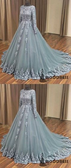Outlet Great Evening Dresses 2019 Grey Applique Wedding Dress Long Sleeve Tulle Long Prom Dress A-Line Sweep Train Eveniing Dress Prom Dresses With Sleeves, A Line Prom Dresses, Long Wedding Dresses, Dress Prom, Tulle Wedding, Dress Wedding, Wedding Card, Grey Evening Dresses, Applique Wedding Dress