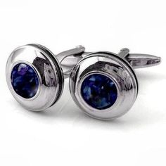 Exclusive 925 Sterling Silver Natural Round Blue Sapphire Men's New Cufflinks #SimSimSilver